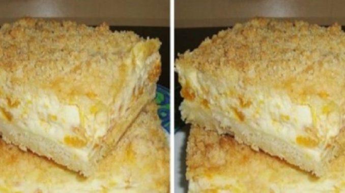 Sypaný ovocný koláč – netreba robiť žiadne cesto, stačí len nasypať na plech a zaliať pudingom!