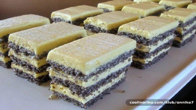 5 lyžíc maku, 1 tabuľka tmavej čokolády, trochu kokosu, neodolateľný vanilkový krém a lahôdka je pripravená!